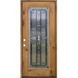 Full Lite Knotty Alder Prehung Wood Door Unit #297