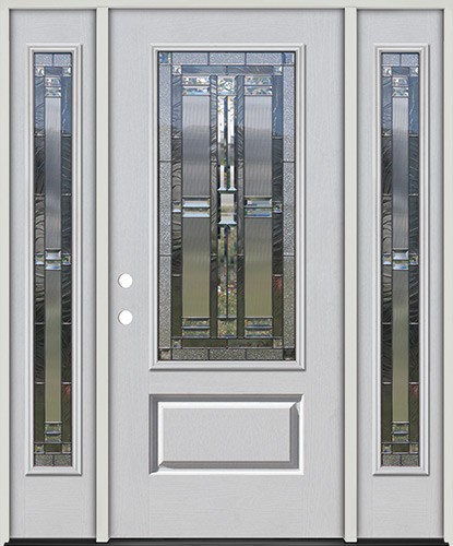 3/4 Lite Fiberglass Prehung Door Unit with Sidelites #277