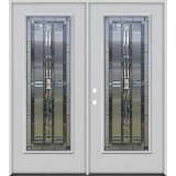 Full Lite Fiberglass Prehung Double Door Unit #297