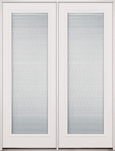 "8'0"" Tall Mini-blinds Fiberglass Patio Prehung Double Door Unit"