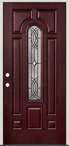 Center Arch Pre-finished Mahogany Fiberglass Prehung Door Unit #66