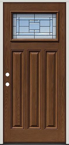 Craftsman Pre-finished Oak Fiberglass Prehung Door Unit #28