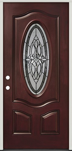 3/4 Oval Pre-finished Mahogany Fiberglass Prehung Door Unit #16