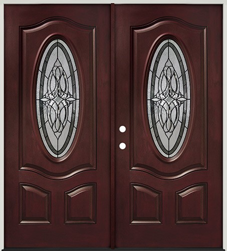 3/4 Oval Pre-finished Mahogany Fiberglass Prehung Double Door Unit #16