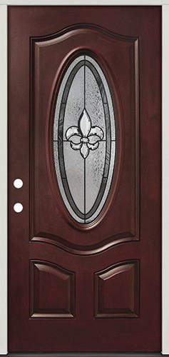 Fleur-de-lis 3/4 Oval Pre-finished Mahogany Fiberglass Prehung Door Unit #44