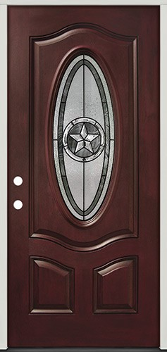 Texas Star 3/4 Oval Pre-finished Mahogany Fiberglass Prehung Door Unit #60