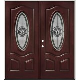 Texas Star 3/4 Oval Pre-finished Mahogany Fiberglass Prehung Double Door Unit #60