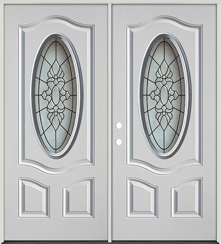 3/4 Oval Fiberglass Prehung Double Door Unit #64