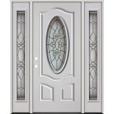 3/4 Oval Fiberglass Prehung Door Unit with Sidelites #64