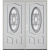 3/4 Oval Fiberglass Prehung Double Door Unit #68