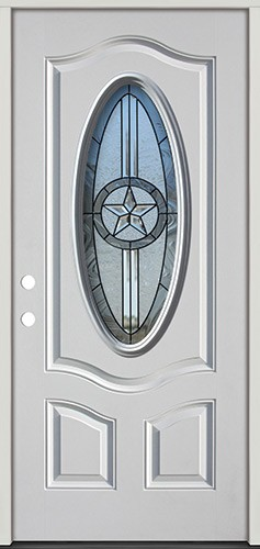 3/4 Oval Texas Star Fiberglass Prehung Door Unit #60