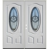 3/4 Oval Texas Star Fiberglass Prehung Double Door Unit #60