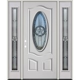 3/4 Oval Texas Star Fiberglass Prehung Door Unit with Sidelites #60