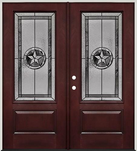 Finer Doors Texas Star 3 4 Lite Pre Finished Mahogany Fiberglass Prehung Double Door Unit 70