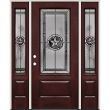 Texas Star 3/4 Lite Pre-finished Mahogany Fiberglass Prehung Door Unit with Sidelites #70