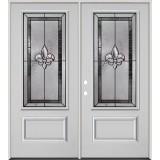 Fleur-de-lis 3/4 Lite Fiberglass Prehung Double Door Unit #48