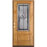 Fleur-de-lis 3/4 Lite Knotty Alder Wood Door Prehung Door Unit #48