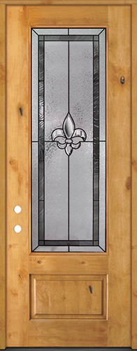 "Fleur-de-lis 8'0"" Tall 3/4 Lite Knotty Alder Wood Door Prehung Door Unit #84"