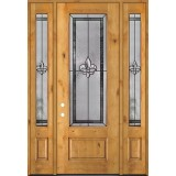"Fleur-de-lis 8'0"" Tall 3/4 Lite Knotty Alder Wood Door Unit with Sidelites #84"