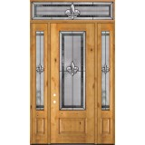 "Fleur-de-lis 8'0"" Tall 3/4 Lite Knotty Alder Wood Door Unit with Transom #84"