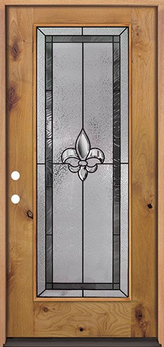 Fleur-de-lis Full Lite Knotty Alder Wood Door Prehung Door Unit #84