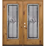 Fleur-de-lis Full Lite Knotty Alder Wood Double Door Unit #84