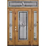 Fleur-de-lis Full Lite Knotty Alder Wood Door Unit with Transom #84
