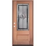 Fleur-de-lis 3/4 Lite Mahogany Wood Door Prehung Door Unit #48