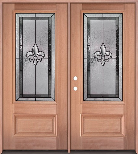 Fleur-de-lis 3/4 Lite Mahogany Wood Double Door Unit #48