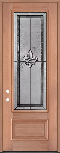 "Fleur-de-lis 8'0"" Tall 3/4 Lite Mahogany Wood Door Prehung Door Unit #84"
