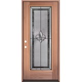 Fleur-de-lis Full Lite Mahogany Wood Door Prehung Door Unit #84