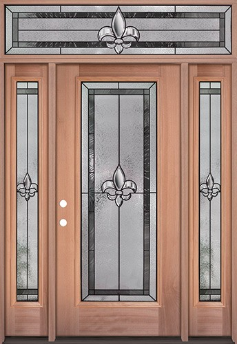 Fleur-de-lis Full Lite Mahogany Wood Door Unit with Transom #84