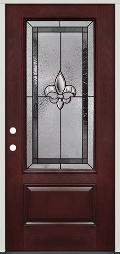 Fleur-de-lis 3/4 Lite Pre-finished Mahogany Fiberglass Prehung Door Unit #48
