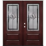 Fleur-de-lis 3/4 Lite Pre-finished Mahogany Fiberglass Prehung Double Door Unit #48