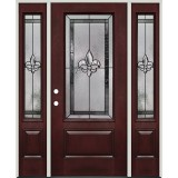 Fleur-de-lis 3/4 Lite Pre-finished Mahogany Fiberglass Prehung Door Unit with Sidelites #48
