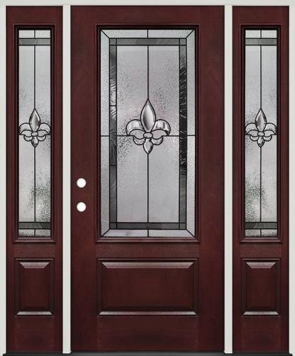 Fleur-de-lis 3/4 Lite Pre-finished Mahogany Fiberglass Prehung Door Unit with Sidelites #48