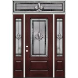Fleur-de-lis 3/4 Lite Pre-finished Mahogany Fiberglass Prehung Door Unit with Transom #48