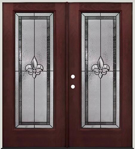 Fleur-de-lis Full Lite Pre-finished Mahogany Fiberglass Prehung Double Door Unit #84
