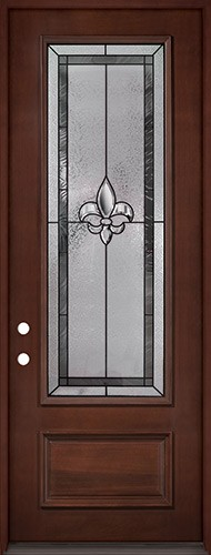 "Fleur-de-lis 8'0"" Tall 3/4 Lite Pre-finished Mahogany Wood Door Prehung Door Unit #84"