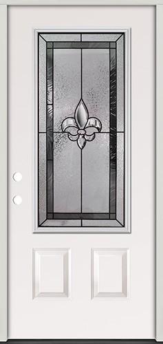 Fleur-de-lis 3/4 Lite Steel Prehung Door Unit #48