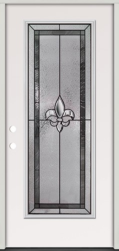 Fleur-de-lis Full Lite Steel Prehung Door Unit #84