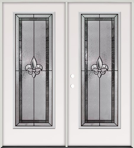 Fleur-de-lis Full Lite Steel Prehung Double Door Unit #84