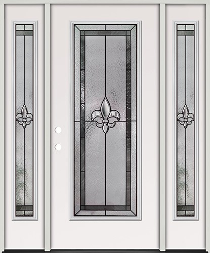 Fleur-de-lis Full Lite Steel Prehung Door Unit with Sidelites #84