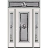 Fleur-de-lis Full Lite Steel Prehung Door Unit with Transom #84
