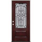 3/4 Lite Pre-finished Mahogany Fiberglass Prehung Door Unit #279