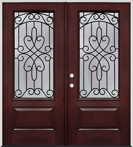 3/4 Lite Pre-finished Mahogany Fiberglass Prehung Double Door Unit #279