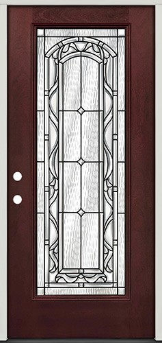 Full Lite Pre-finished Mahogany Fiberglass Prehung Door Unit #292