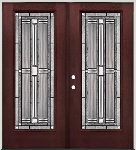 Full Lite Pre-finished Mahogany Fiberglass Prehung Double Door Unit #297