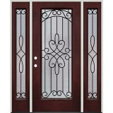 Full Lite Pre-finished Mahogany Fiberglass Prehung Door Unit with Sidelites #299