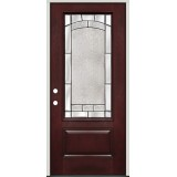 3/4 Lite Pre-finished Mahogany Fiberglass Prehung Door Unit #67